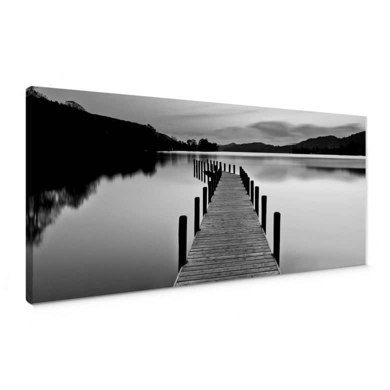 Leinwandbild Seepanorama - schwarz/weiß