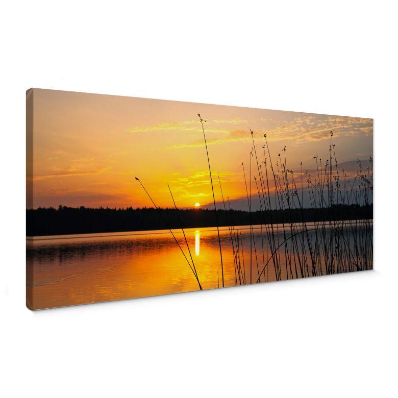 Leinwandbild Sonnenuntergang am See - Panorama