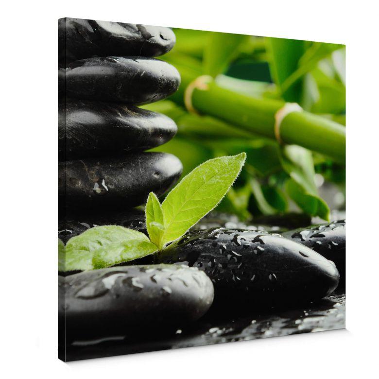 Leinwandbild Black Zen Stones - Quadratisch