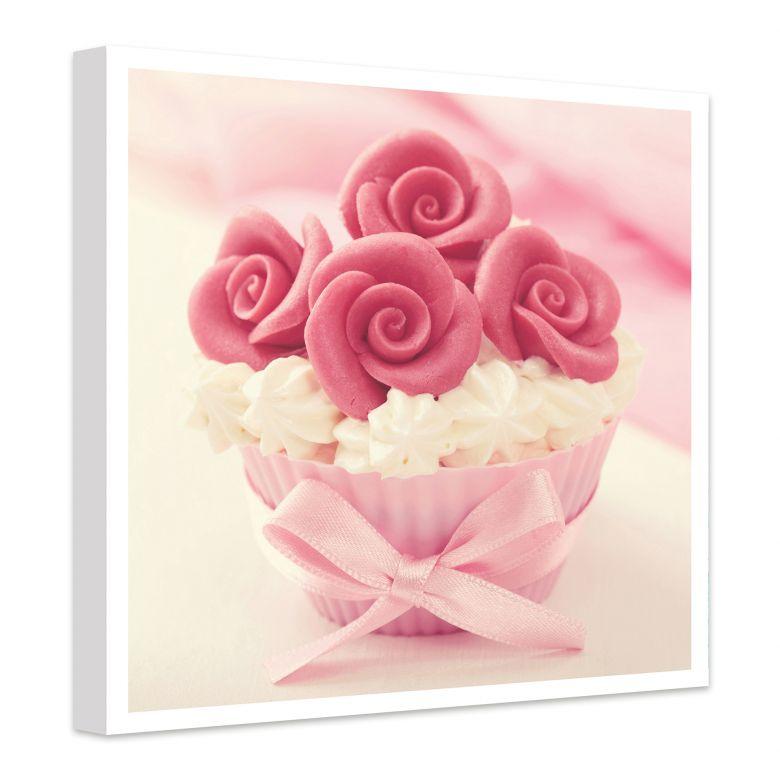 Leinwandbild Roses on Cupcake - quadratisch