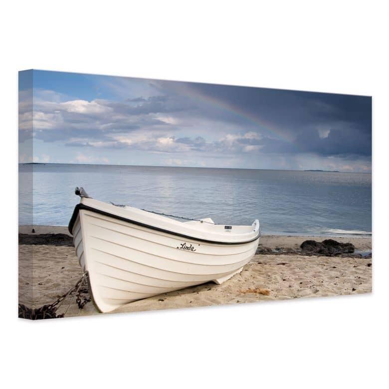 Leinwanddruck Strandidyll - Wandbild mit Boot am Strand | wall-art.de