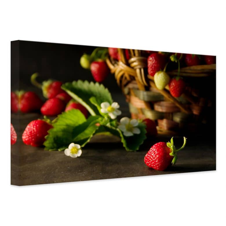 leinwand erdbeerk rbchen leckeres dekoration f r die wand wall. Black Bedroom Furniture Sets. Home Design Ideas