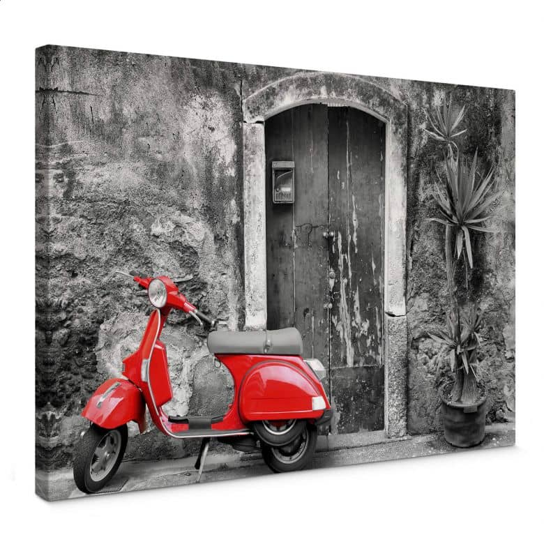 Red Scooter black & white Canvas print