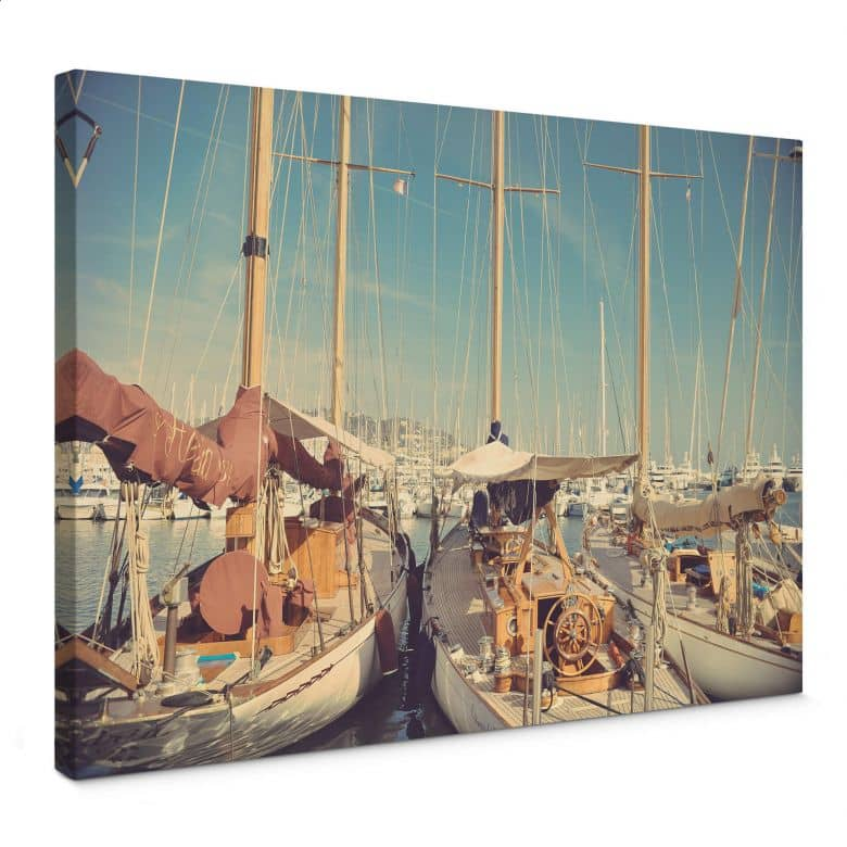 Sailboats in the Harbour Canvas print