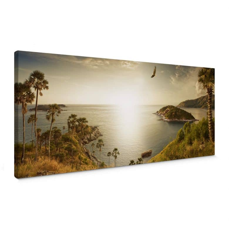 Canvas Zonsondergang in het Paradijs - Panorama