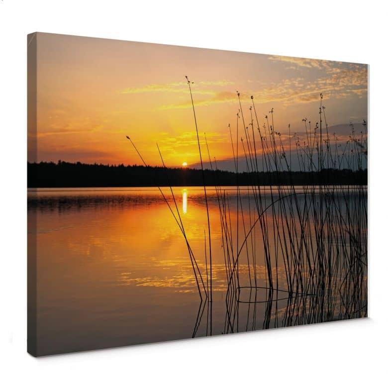 Leinwandbild Sonnenuntergang am See