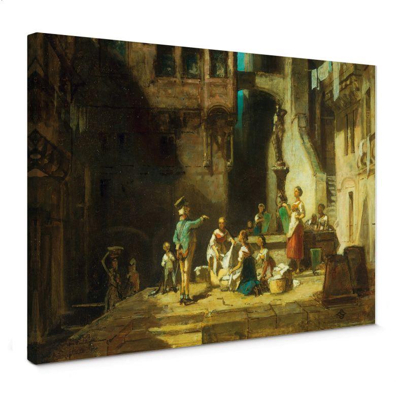 Tableau sur toile Spitzweg - Blanchisseuses autour d'un puits
