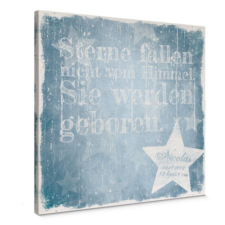 Leinwandbild Wunschtext + Name - Sterne fallen nicht vom Himmel (blau)