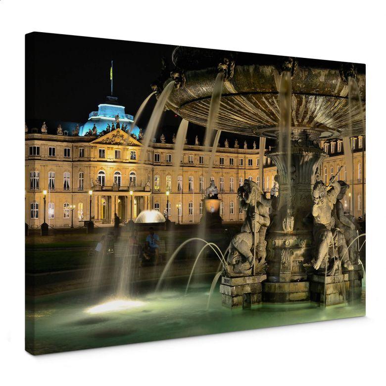 Leinwandbild Stuttgarter Schlossbrunnen