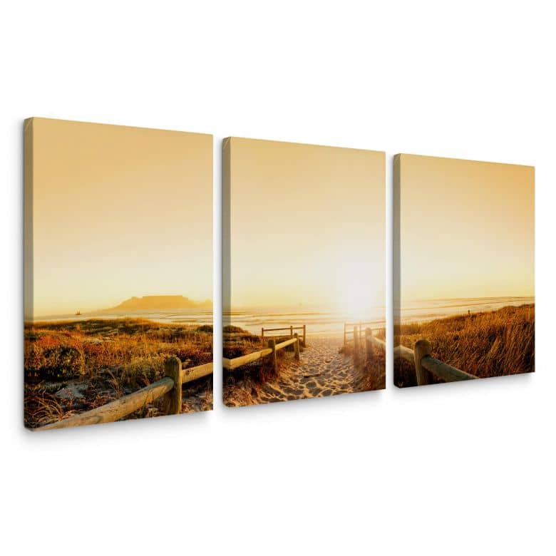 Sunset at the Beach (3 parts) Canvas print