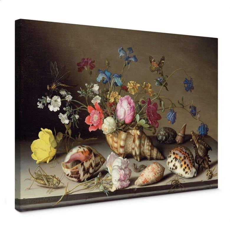 Leinwandbild Van der Ast - Blumen, Muscheln und Insekten auf einem Steingesims
