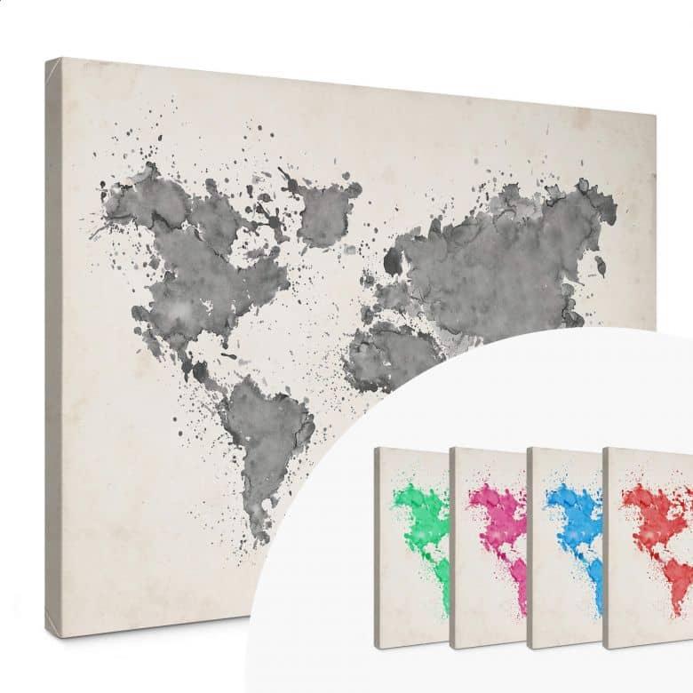 Stampa su tela - La mappa del mondo su acquerello