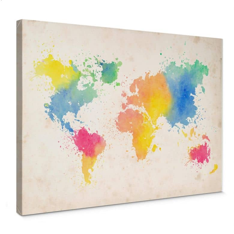 World Map Water Colour Canvas print