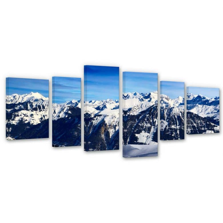 Leinwandbild Alpenpanorama (6-teilig)