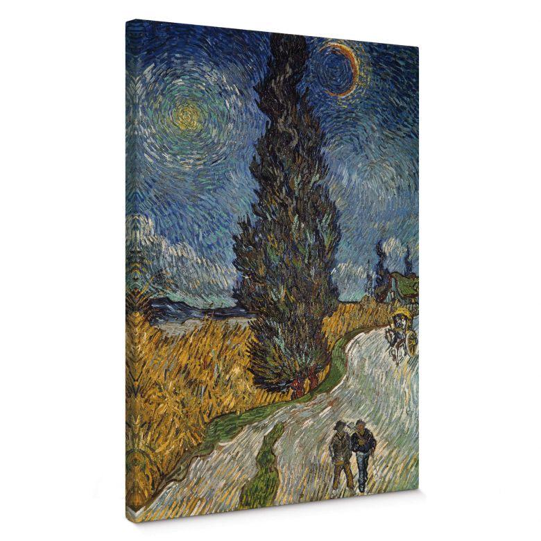 Tableau sur toile van Gogh - Route avec cyprès et ciel étoilé