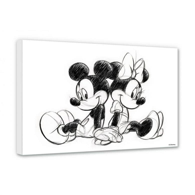 leinwandbild mickey und minnie in schwarz wei wall. Black Bedroom Furniture Sets. Home Design Ideas