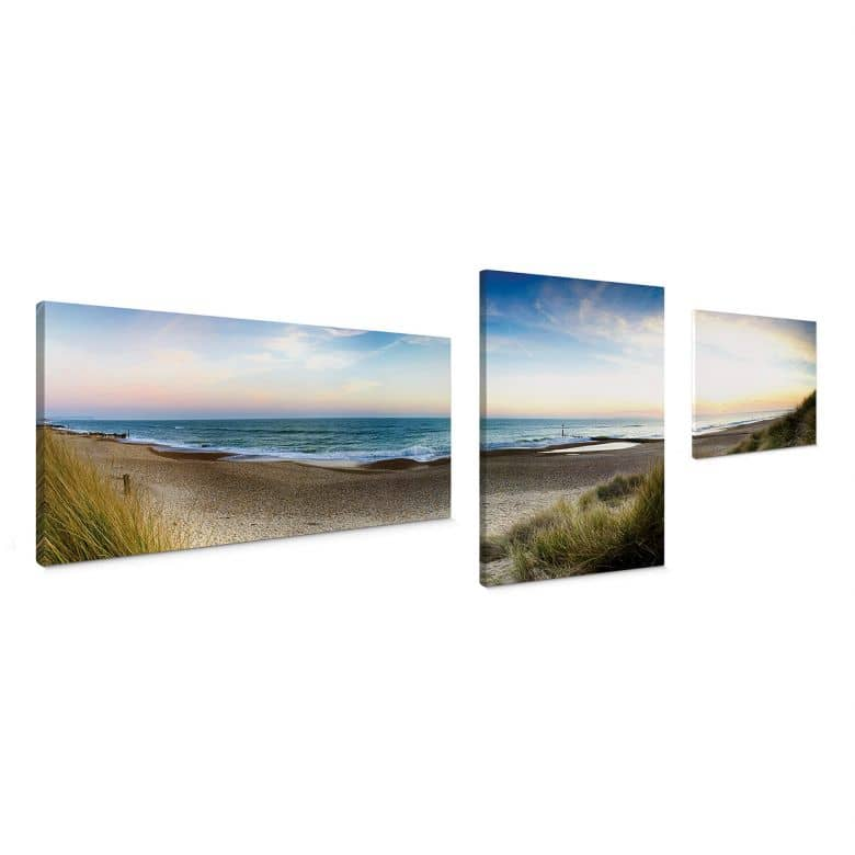 Beach panorama (3 parts) Canvas print