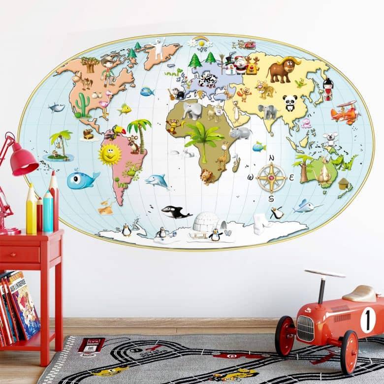 Adesivo murale - Michel Agullo - Mappamondo per bambini