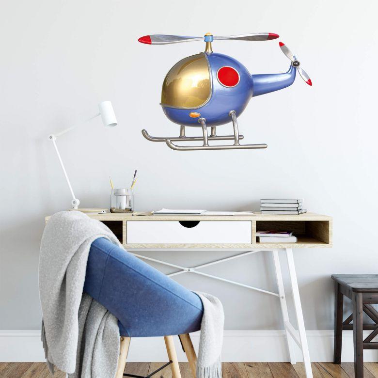 Adesivo murale  Michel Agullo - Elicottero (blu)