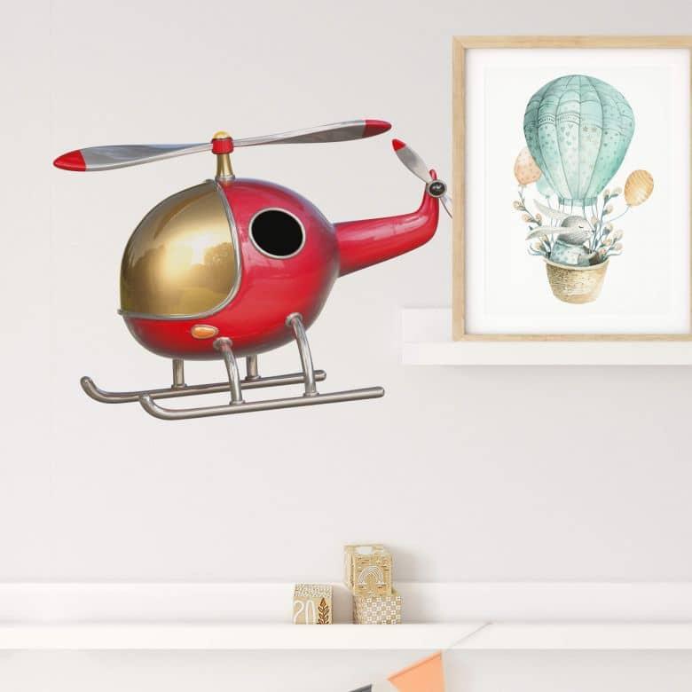 Wandtattoo Michel Agullo - Helikopter (rot)