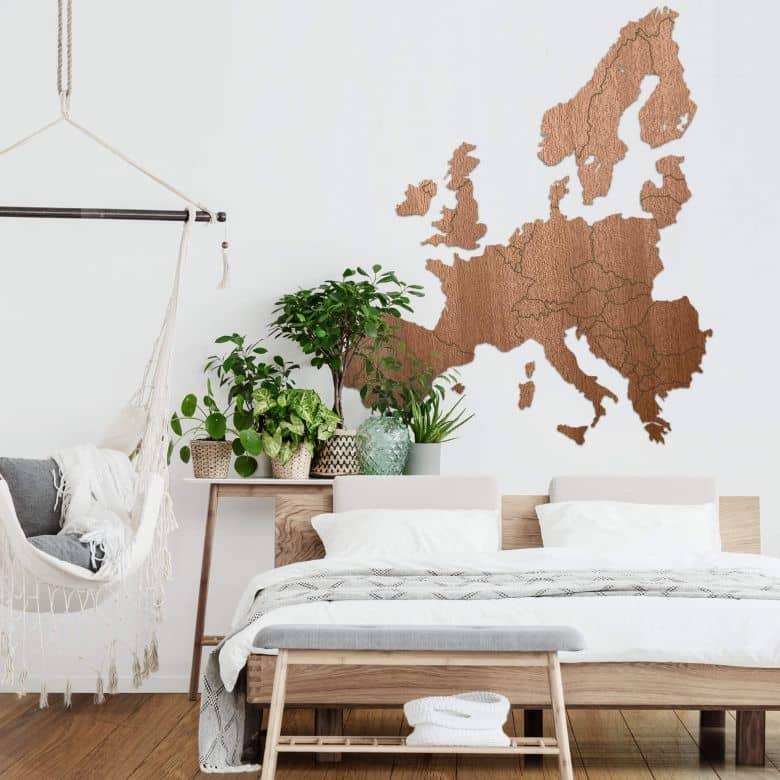 Map of Europa - wood - mahogany veneer