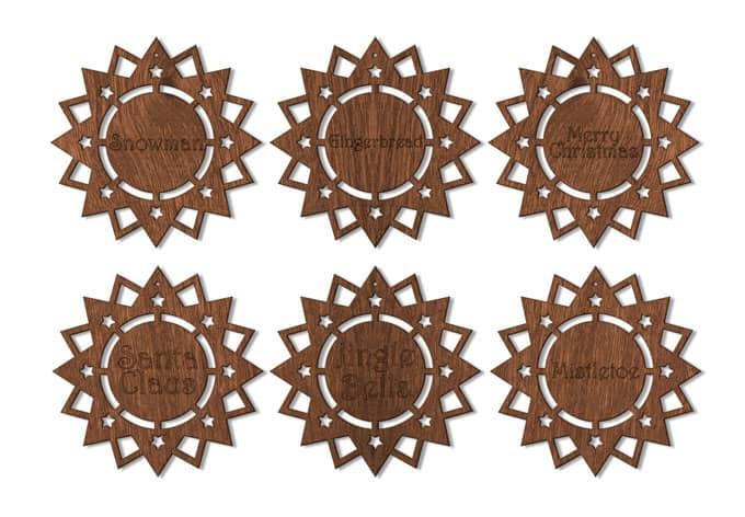 Holzkunst Mahagoni - Poinsettia (6-teilig)