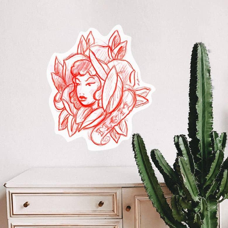 Sticker mural - Miami Ink - Visage en fleurs