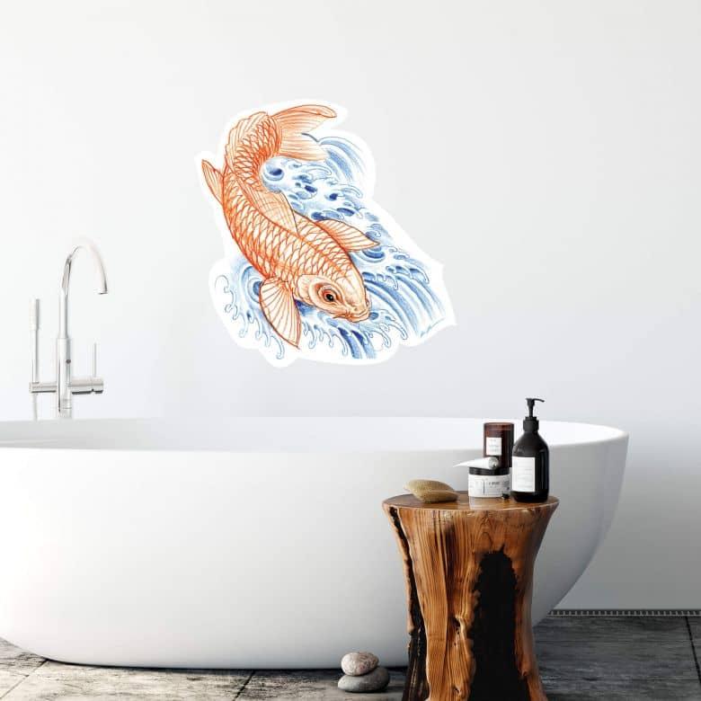 Sticker mural - Miami Ink - Carpe japonaise