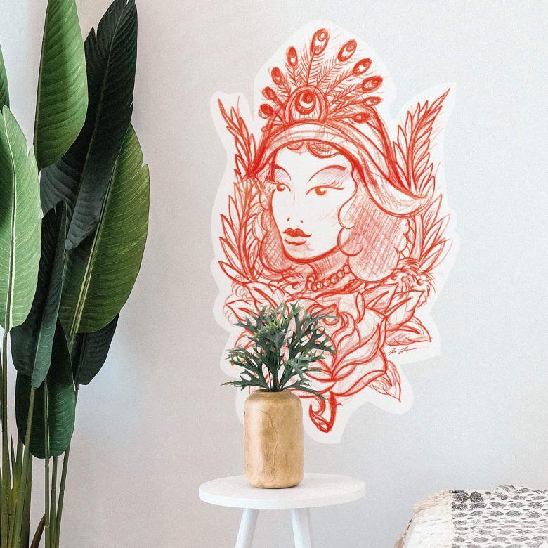 Sticker mural - Miami Ink - Femme et plume de paon