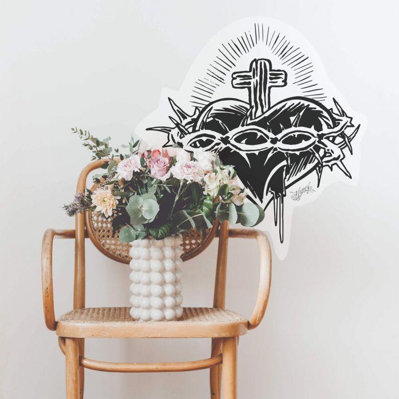 Sticker mural - Miami Ink - Coeur et croix