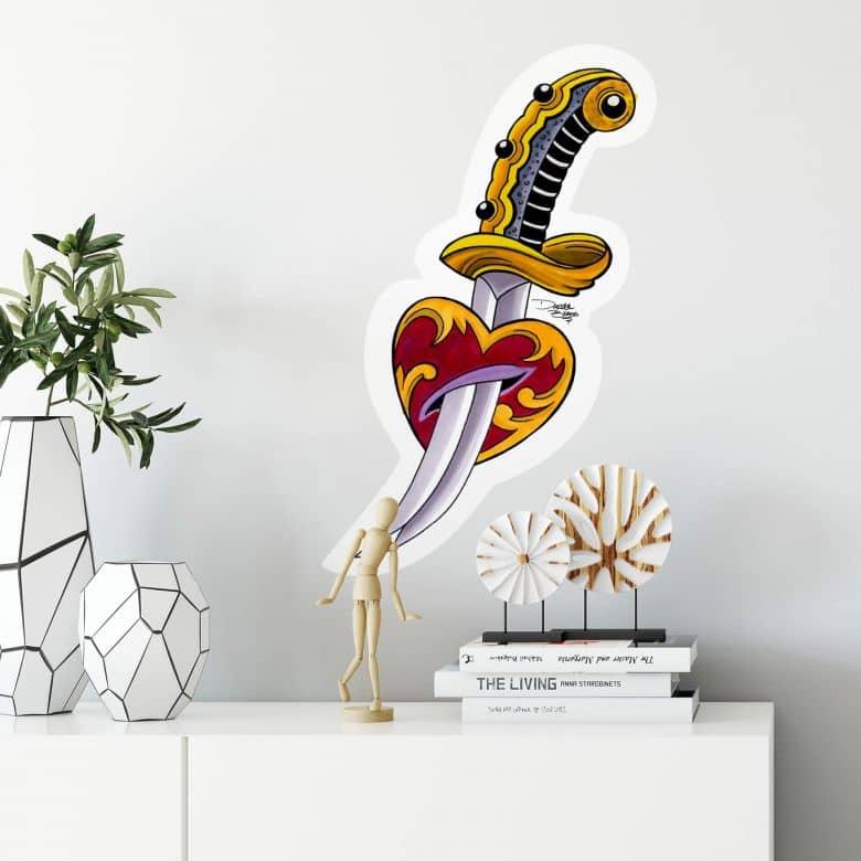 Sticker mural - Miami Ink - Épée et coeur
