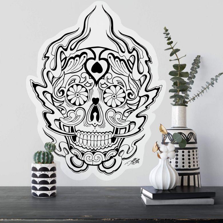 Sticker mural - Miami Ink - Masque des morts mexicain 1