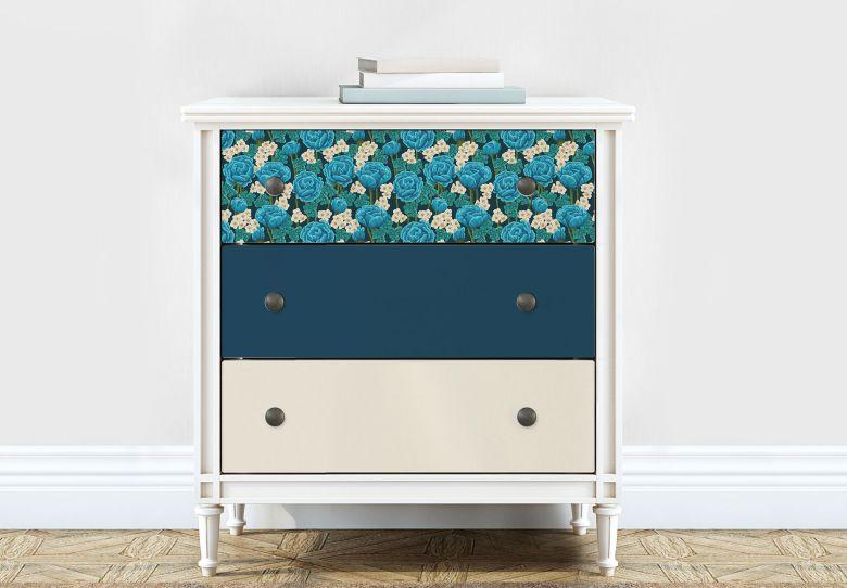 Möbelfolie, Dekofolie - abwischbar - Blaue Hortensie - 3er Set