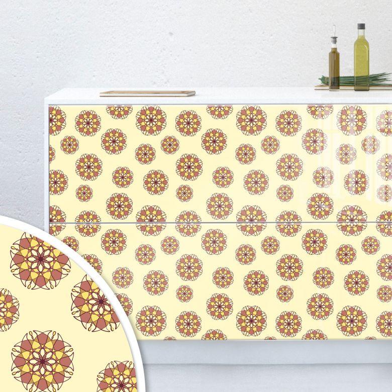 Möbelfolie, Dekofolie - abwischbar - Geometrische Blüten