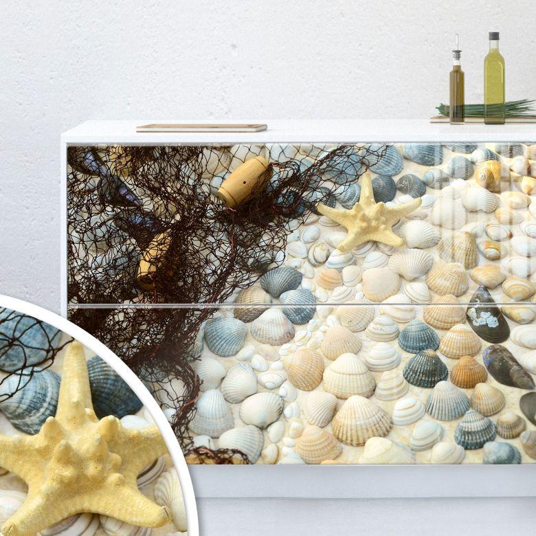Möbelfolie, Dekofolie - abwischbar - Maritime Sea shell