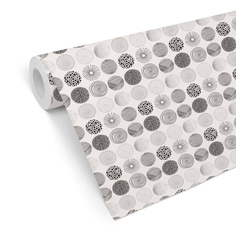 Mustertapete - abstrakte Kreise 01 - schwarzweiß