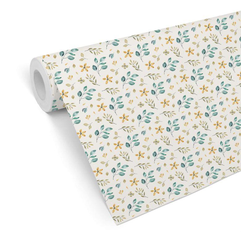Mustertapete - Aquarell Blüten 01 - gelb