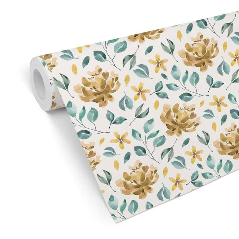 Mustertapete - Aquarell Blüten 02 - gelb