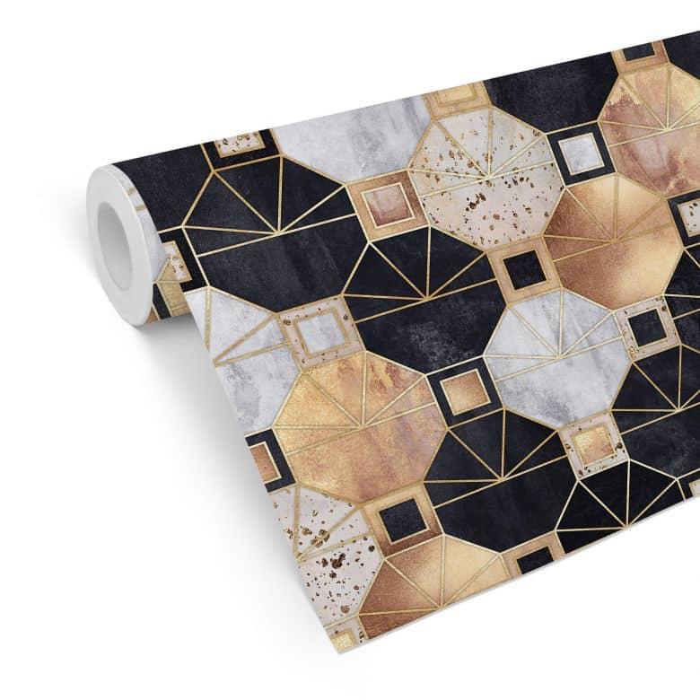 Patterned Wallpaper Fredriksson - Gold & Black