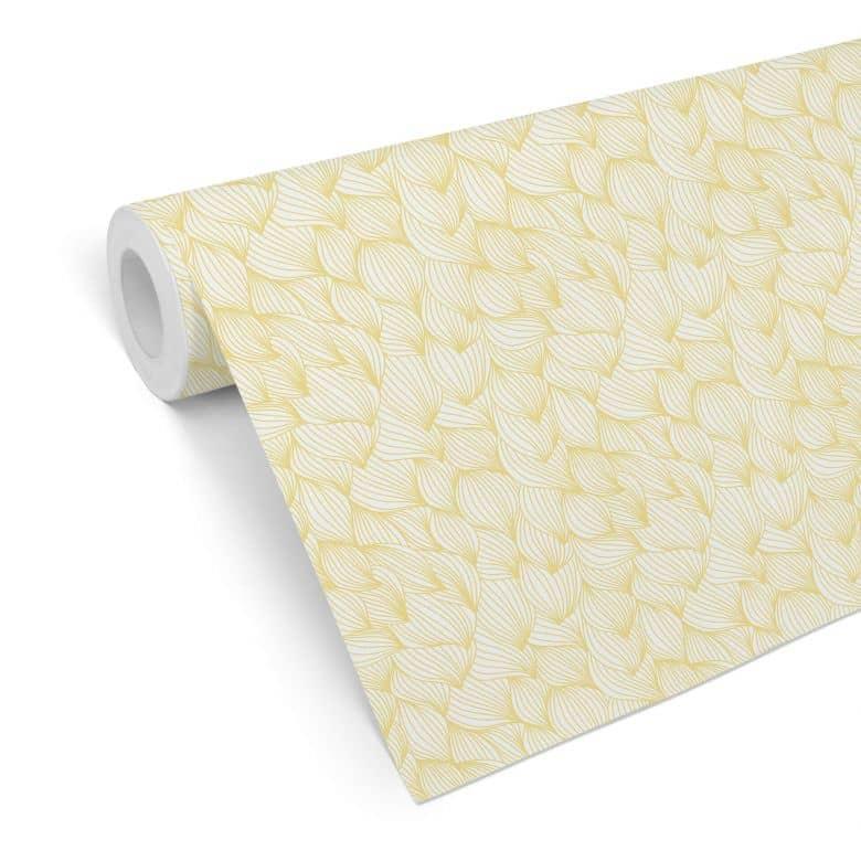 Mustertapete - Grafische Wellen - gelb
