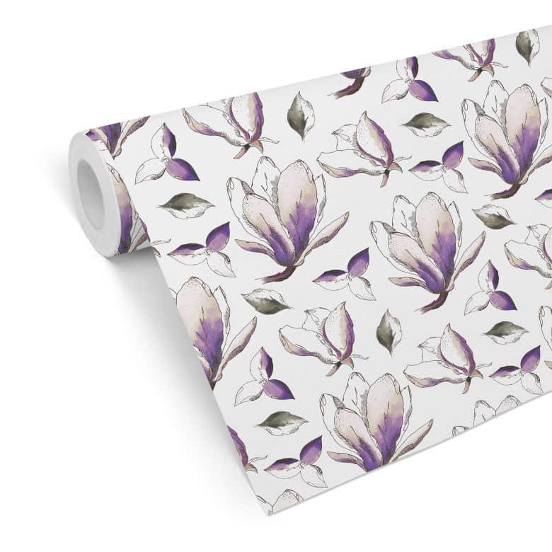 Mustertapete - illustrierte Blüten - violett