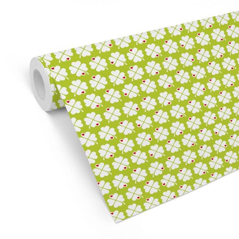 Mustertapete byGraziela - Kleeblatt grün