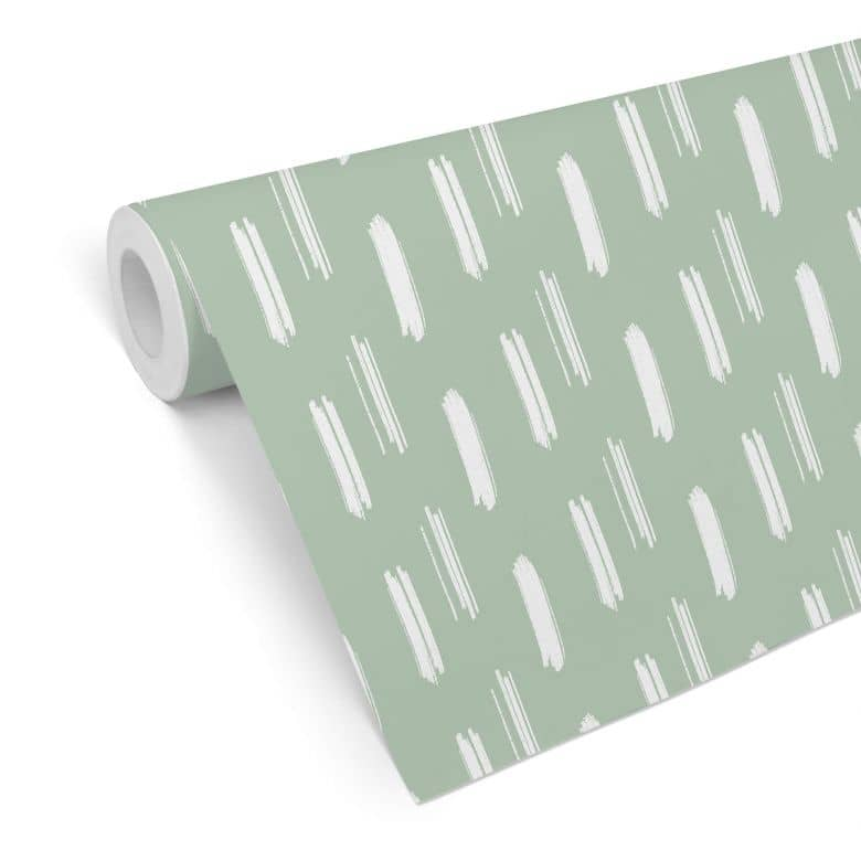 Mustertapete - Pinselstriche grün