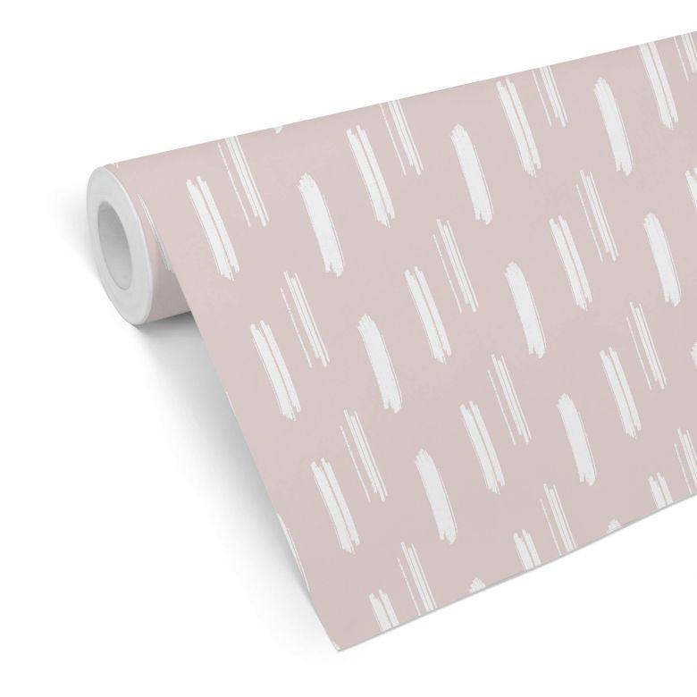 Mustertapete - Pinselstriche rosa