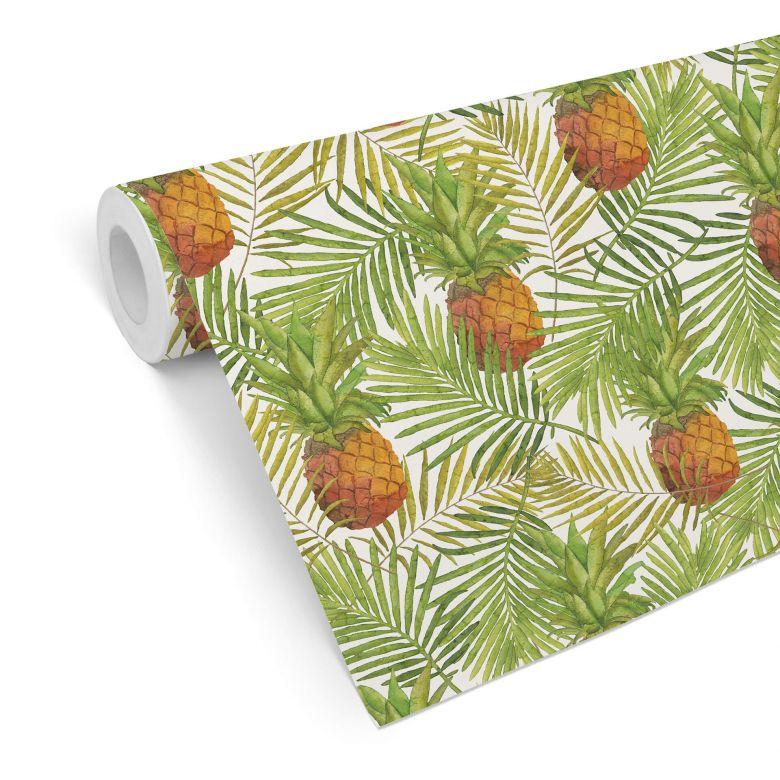Papier peint à motifs - Ananas tropicaux
