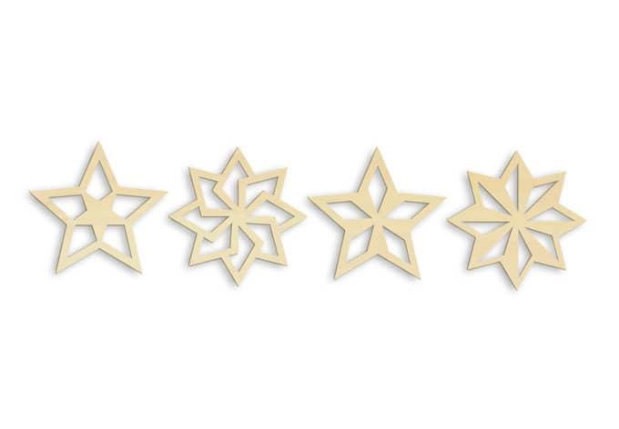 Holzkunst Pappel - Baumschmuck Sterne Geo (4-teilig)