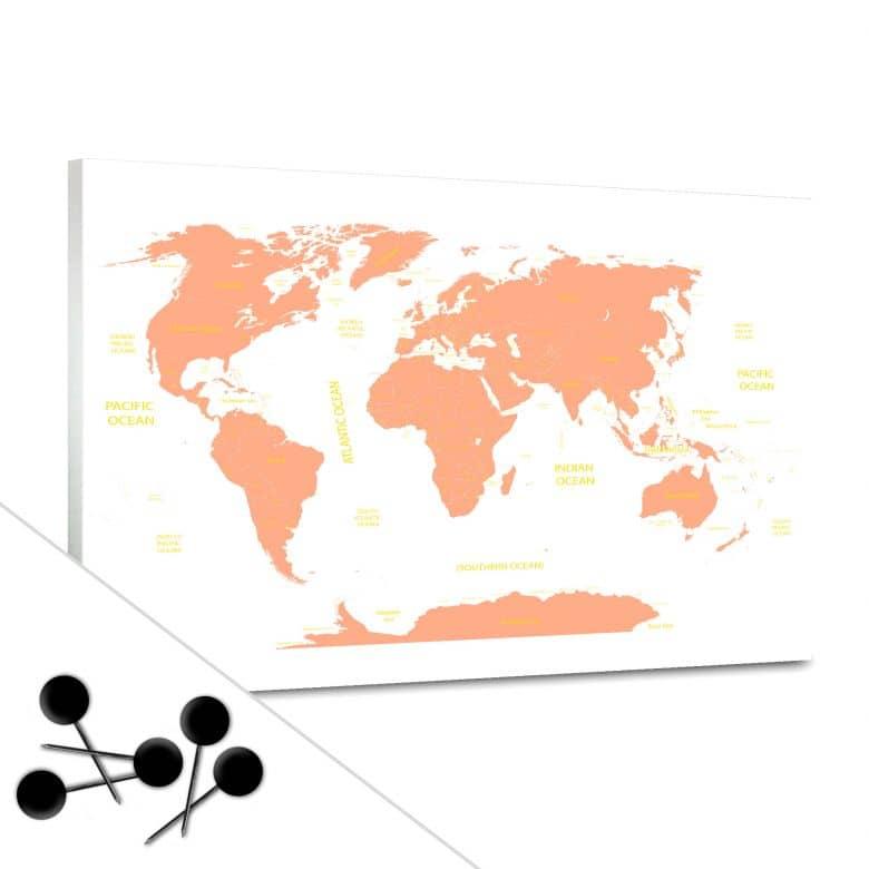 World Map Orange Bulletin Board