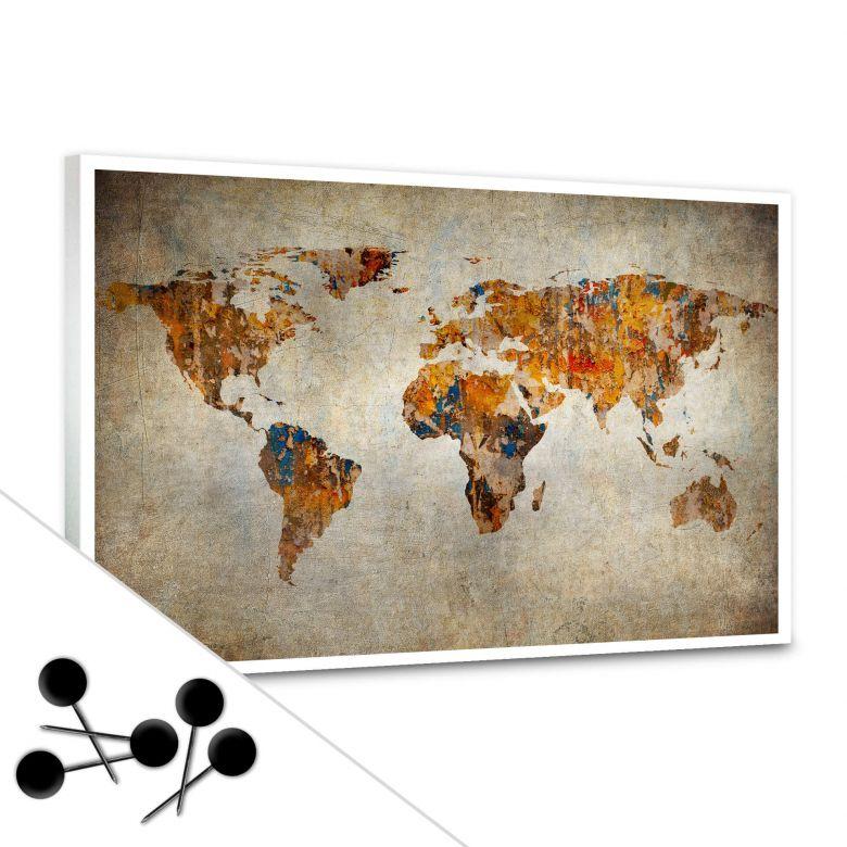 Memoboard Weltkarte - Shabby Chic inkl. 5 Pinnadeln