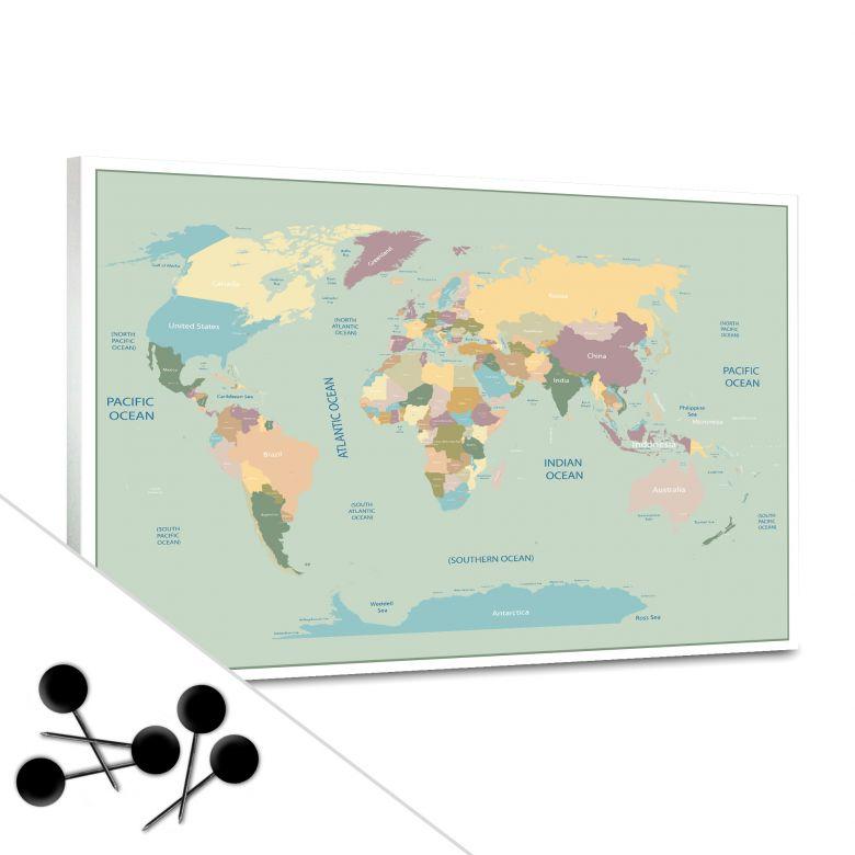 Vintage World Map Bulletin Board