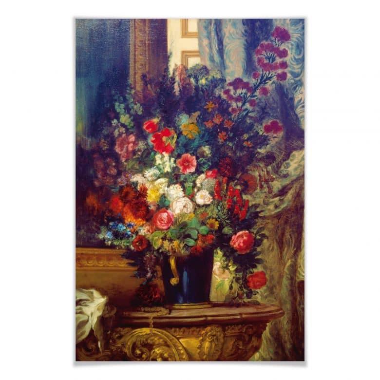 Poster Delacroix - Vase mit Blumen auf einer Konsole